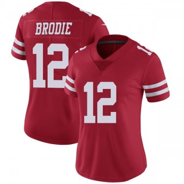 Women's Nike San Francisco 49ers Wilson John Brodie Red Team Color Vapor Untouchable Jersey - Limited
