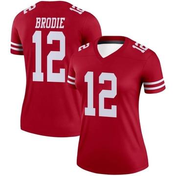 Women's Nike San Francisco 49ers Wilson John Brodie Scarlet Jersey - Legend