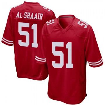 Youth Nike San Francisco 49ers Azeez Al-Shaair Red Team Color Jersey - Game
