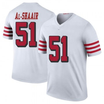 Youth Nike San Francisco 49ers Azeez Al-Shaair White Color Rush Jersey - Legend