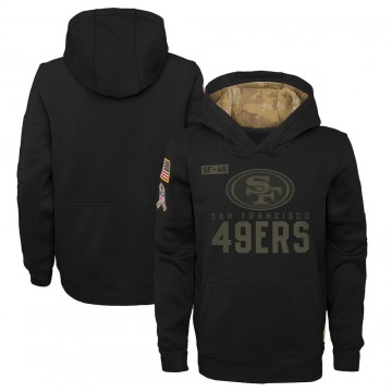Youth Nike San Francisco 49ers Black 2020 Salute to Service Pullover Performance Hoodie -