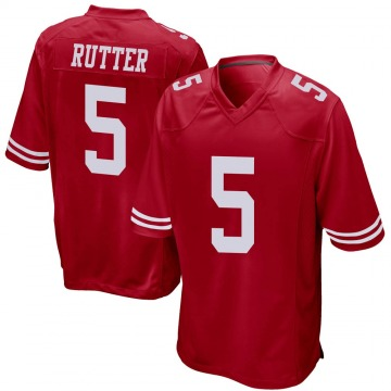 Youth Nike San Francisco 49ers Broc Rutter Red Team Color Jersey - Game
