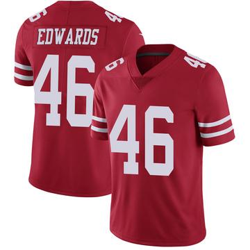 Youth Nike San Francisco 49ers Chris Edwards Scarlet 100th Vapor Jersey - Limited