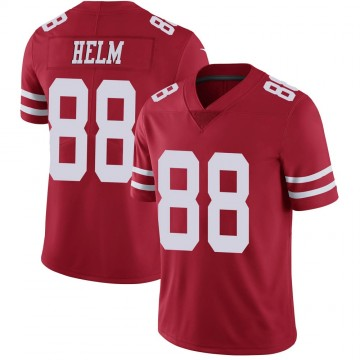 Youth Nike San Francisco 49ers Daniel Helm Scarlet 100th Vapor Jersey - Limited