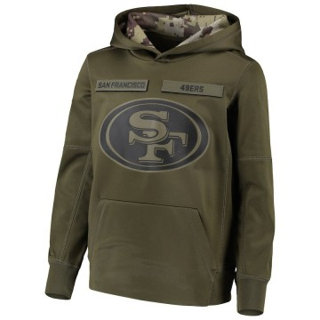 Youth Nike San Francisco 49ers Green 2018 Salute to Service Pullover Performance Hoodie -