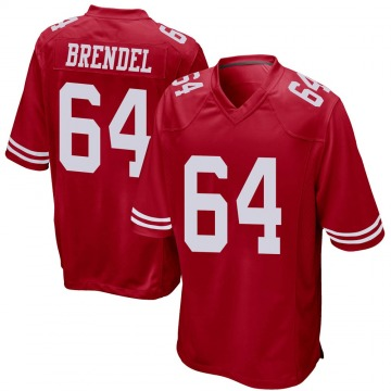 Youth Nike San Francisco 49ers Jake Brendel Red Team Color Jersey - Game