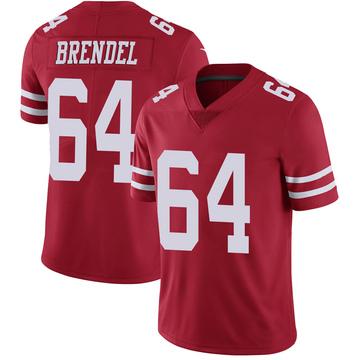 Youth Nike San Francisco 49ers Jake Brendel Scarlet 100th Vapor Jersey - Limited