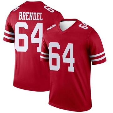 Youth Nike San Francisco 49ers Jake Brendel Scarlet Jersey - Legend