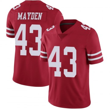 Youth Nike San Francisco 49ers Jared Mayden Scarlet 100th Vapor Jersey - Limited