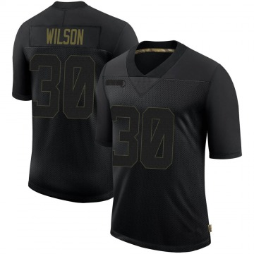 Youth Nike San Francisco 49ers Jeff Wilson Black 2020 Salute To Service Jersey - Limited