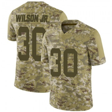 Youth Nike San Francisco 49ers Jeff Wilson Camo 2018 Salute to Service Jersey - Limited