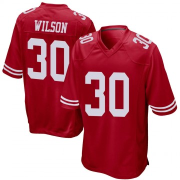 Youth Nike San Francisco 49ers Jeff Wilson Red Team Color Jersey - Game