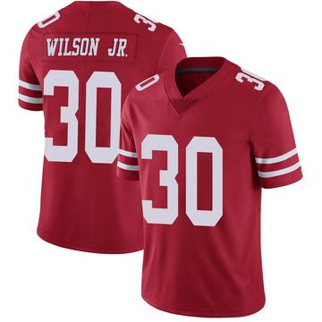 Youth Nike San Francisco 49ers Jeff Wilson Scarlet 100th Vapor Jersey - Limited