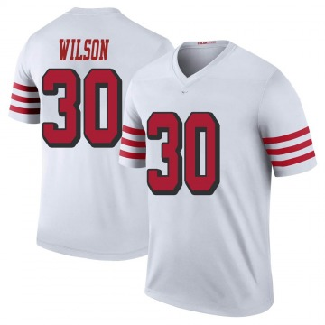 Youth Nike San Francisco 49ers Jeff Wilson White Color Rush Jersey - Legend