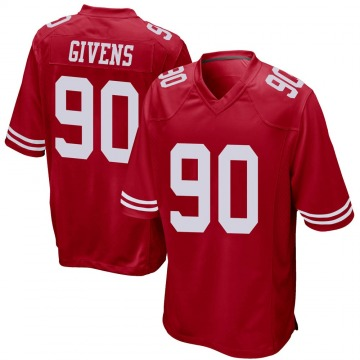 Youth Nike San Francisco 49ers Kevin Givens Red Team Color Jersey - Game