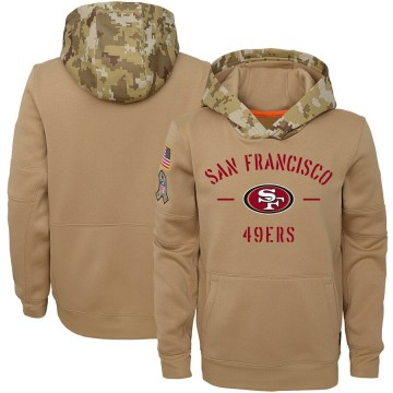 Youth Nike San Francisco 49ers Khaki 2019 Salute to Service Therma Pullover Hoodie -