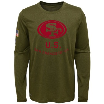 Youth Nike San Francisco 49ers Olive 2018 Salute to Service Performance Long Sleeve T-Shirt - Legend
