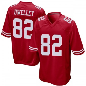 Youth Nike San Francisco 49ers Ross Dwelley Red Team Color Jersey - Game