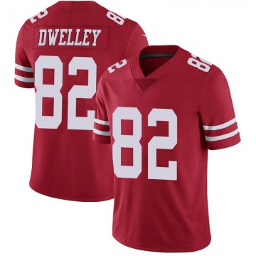 Youth Nike San Francisco 49ers Ross Dwelley Scarlet 100th Vapor Jersey - Limited