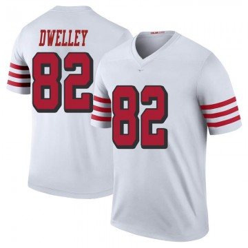 Youth Nike San Francisco 49ers Ross Dwelley White Color Rush Jersey - Legend