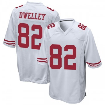 Youth Nike San Francisco 49ers Ross Dwelley White Jersey - Game