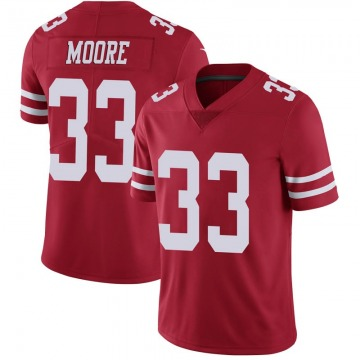 Youth Nike San Francisco 49ers Tarvarius Moore Scarlet 100th Vapor Jersey - Limited