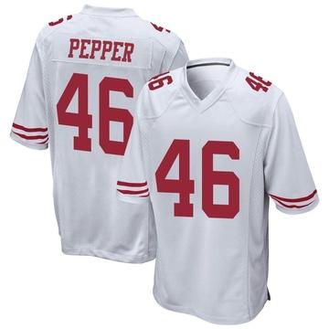 Youth Nike San Francisco 49ers Taybor Pepper White Jersey - Game