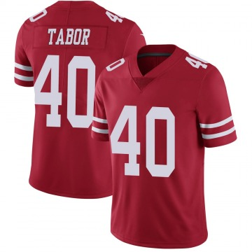 Youth Nike San Francisco 49ers Teez Tabor Scarlet 100th Vapor Jersey - Limited