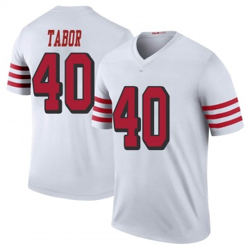 Youth Nike San Francisco 49ers Teez Tabor White Color Rush Jersey - Legend