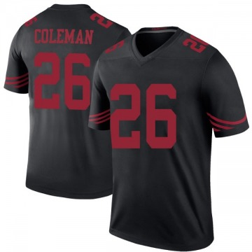 Youth Nike San Francisco 49ers Tevin Coleman Black Color Rush Jersey - Legend