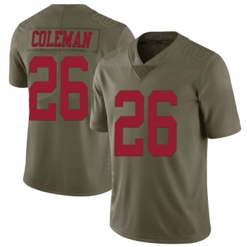 Youth Nike San Francisco 49ers Tevin Coleman Green 2017 Salute to Service Jersey - Limited