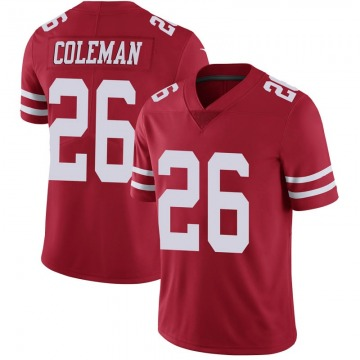 Youth Nike San Francisco 49ers Tevin Coleman Scarlet 100th Vapor Jersey - Limited