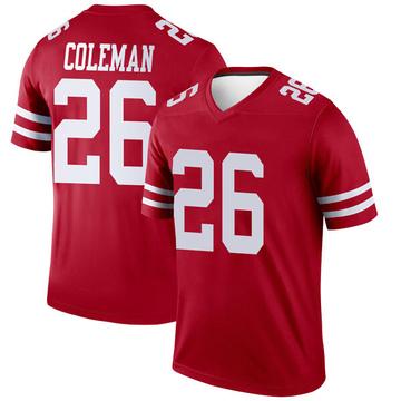Youth Nike San Francisco 49ers Tevin Coleman Scarlet Jersey - Legend