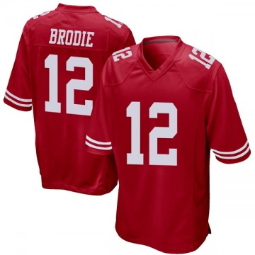 Youth Nike San Francisco 49ers Wilson John Brodie Red Team Color Jersey - Game